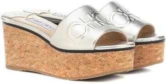 Jimmy Choo Exclusive to Mytheresa a Deedee 80 leather wedge sandals