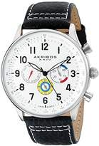 Akribos XXIV Men's AK751SSW Swiss Quartz Movement Watch with Silver Matte Dial and Multicolored Sub dials with Black and White Stitching Leather Calfskin Strap
