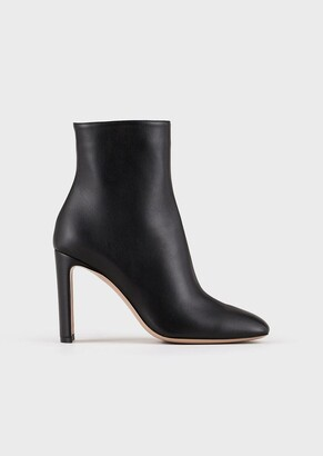 Giorgio Armani Leather Ankle Boots With Half-Moon Heel