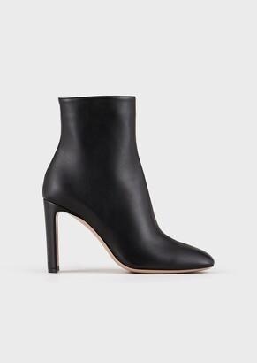 Giorgio Armani Leather Ankle Boots With Half-Moon Heel