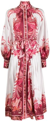 Zimmermann Belted Phoenix Print Silk Dress