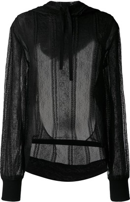 Ann Demeulemeester Floral Lace Hoodie