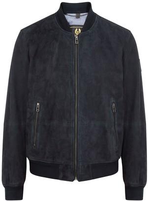Belstaff Harbour navy suede bomber jacket