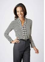 Houndstooth ruffled blouse