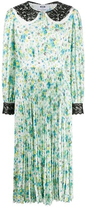 MSGM Floral Print Pleated Dress