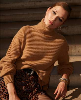 The Kooples Side split long turtleneck sweater in camel