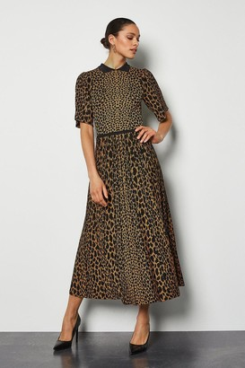 Karen Millen Collared Leopard Midi Knit Dress