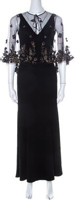 Marchesa Black Crepe Embellished Cape Dress XS