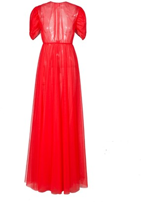 Rue Agthonis Red Tulle Diamond Logo Back Hollowed Dress