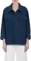Chloé WOMEN'S FRAYED COTTON TUNIC SHIRT