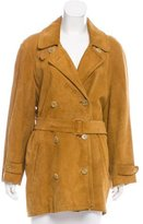 Bally Double-Breasted Suede Trench Coat