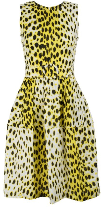 Samantha Sung Rachel Sleeveless Leopard-Print Linen Dress