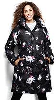 Classic Women's Plus Size Chalet Down Shawl Collar Coat-Black Floral