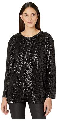 Norma Kamali KAMALIKULTURE by Overlapping Sequin Boyfriend Long Sleeve Crew Top