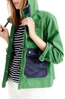 J.Crew Women's Colorblock Waxed Cotton Hooded Jacket