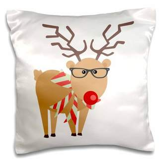 3drose 3dRose Hipster Rudolf Reindeer Glasses and Scarf - Pillow Case, 16 by 16-inch