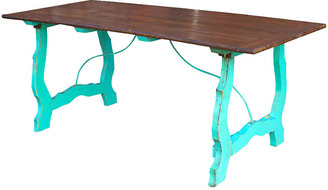 One Kings Lane Vintage Colonial Country Turquoise Table - de-cor