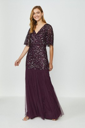 Coast Sequin Angel Sleeve Maxi Dress