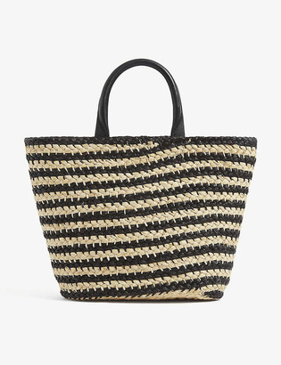 Cesta Collective Top handle striped raffia mini tote bag