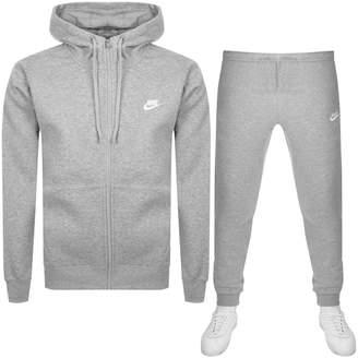 Nike Full Zip Club Tracksuit Grey