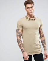 Asos Longline Muscle T-Shirt With Cowl Neck In Beige