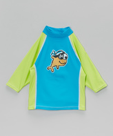 Flap Happy Lime & Aqua Patchy Pete Rashguard - Boys