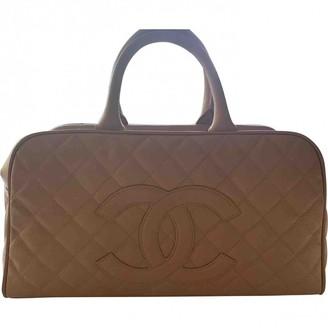 Chanel Bowling Bag Beige Leather Handbags