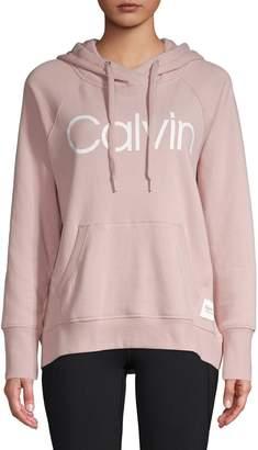 Calvin Klein Logo Cotton-Blend Fleece Hoodie