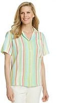 Cathy Daniels® Button-Up Striped Camp Shirt