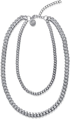 Opes Robur Silver Double Layer Cuban Chain Necklace