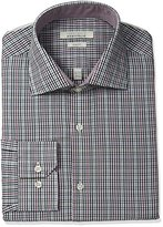 Perry Ellis Men's Slim Fit Wrinkle Free Exploded Check Dress Shirt with Adjustable Collar, Berry/Grey Check