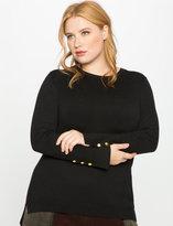 ELOQUII Plus Size Button Cuff Knit Sweater