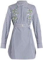 ADAM by Adam Lippes Floral-embroidered pinstriped shirtdress