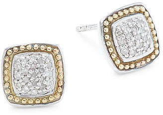Effy Sterling Silver 18K Yellow Gold Diamond Square Earrings