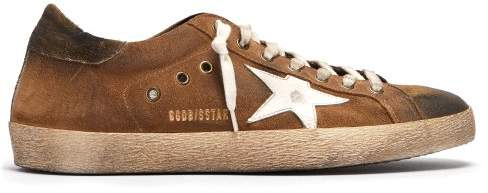 Golden Goose Super Star Low Top Suede Trainers - Mens - Brown Multi