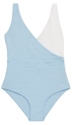 Cossie + Co - The Ashley Bi-colour Honeycomb-effect Swimsuit - Blue Multi