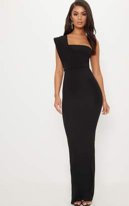 PrettyLittleThing Black One Shoulder Maxi Dress