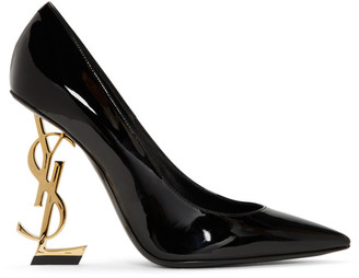 Saint Laurent Black and Gold Patent Opyum Heels