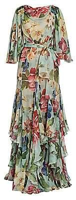 Dolce & Gabbana Women's Chiffon Floral-Silk Flutter-Sleeve Gown