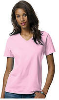 Hanes Women's Relax Fit Jersey V-Neck Tee 5.2 oz (Set of 4) - Pale Pink Short Sleeve Shirts
