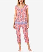 Ellen Tracy Mixed-Print Knit Pajama Top