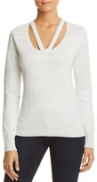 T Tahari Ramona Cutout V-Neck Metallic Sweater