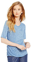 Jones New York V-Neck Side Drape Marled Knit Top