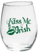 "Kate Aspen Kiss Me I'm Irish"" Green Design 15 Oz. Stemless Wine Glass"