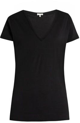 Skin V-neck Pima-cotton Pyjama T-shirt - Black