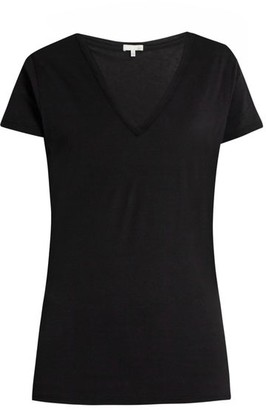 Skin - V-neck Pima-cotton Pyjama T-shirt - Womens - Black