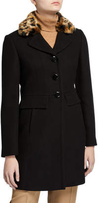 Kate Spade Faux Fur Leopard-Collar Coat