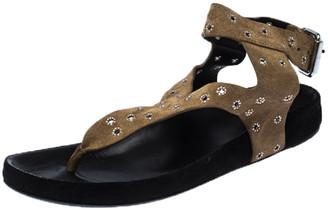 Isabel Marant Beige Suede Elwina Chic Eyelet Ankle Strap Sandals Size 37