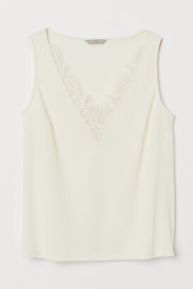 H&M V-neck Top with Lace - White