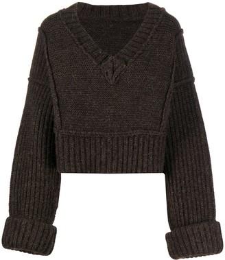 Jacquemus V-neck chunky knit jumper